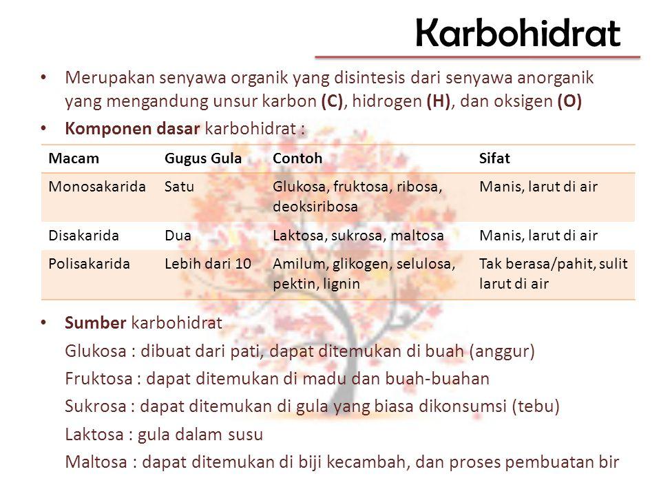 Karbohidrat Merupakan senyawa organik yang disintesis dari senyawa anorganik yang mengandung unsur karbon (C), hidrogen (H), dan oksigen (O)