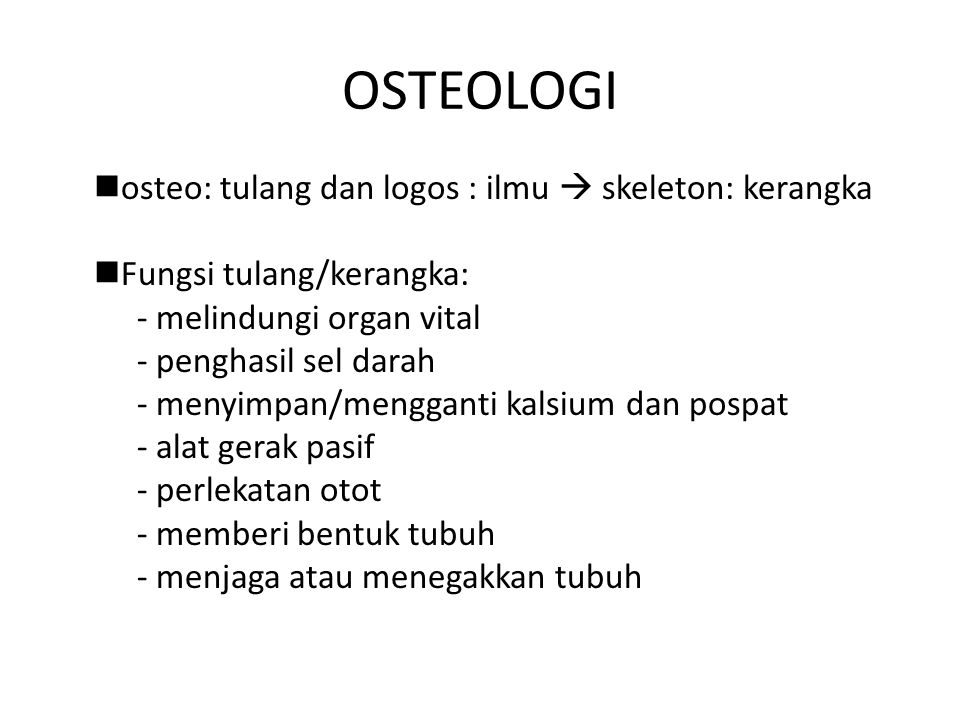 OSTEOLOGI osteo: tulang dan logos : ilmu  skeleton: kerangka