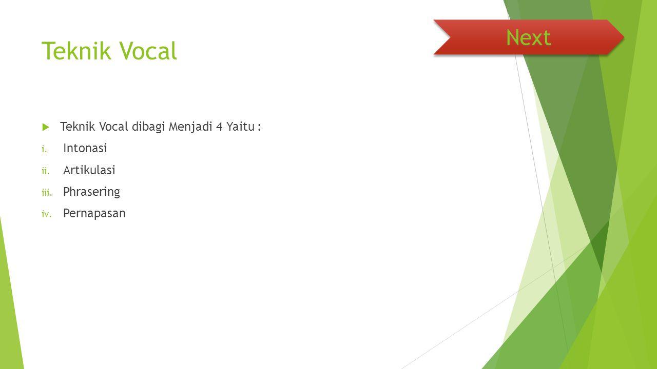 Teknik Vocal Next Teknik Vocal dibagi Menjadi 4 Yaitu : Intonasi