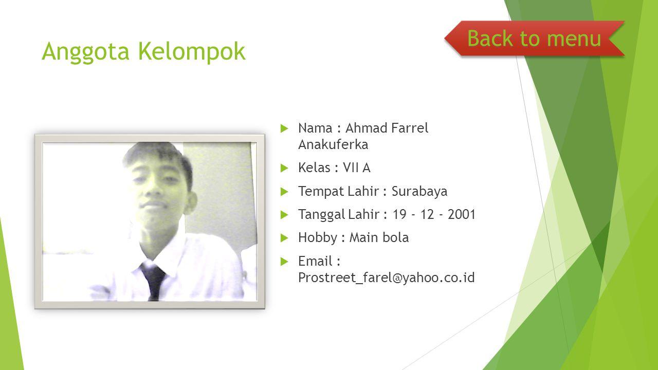 Anggota Kelompok Back to menu Nama : Ahmad Farrel Anakuferka