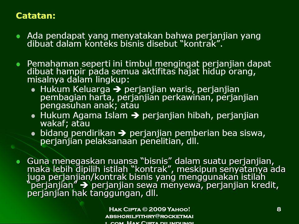 Hukum Agama Islam  perjanjian hibah, perjanjian wakaf; atau