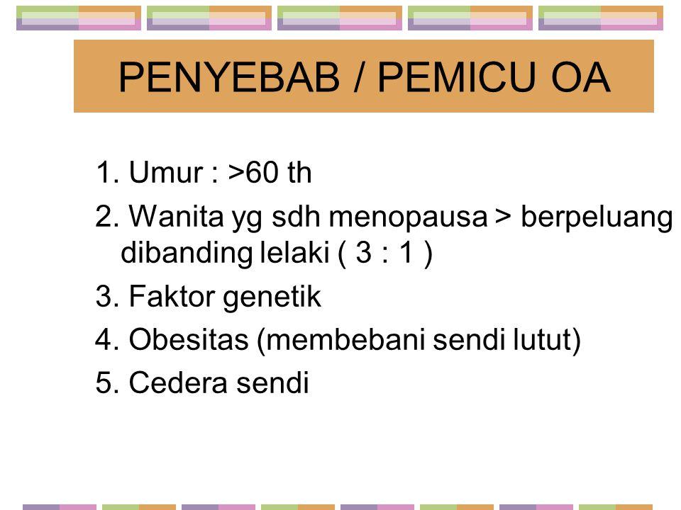 PENYEBAB / PEMICU OA 1. Umur : >60 th