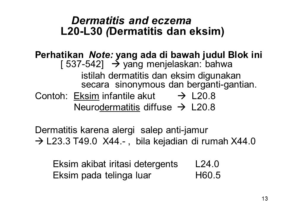 Dermatitis and eczema L20-L30 (Dermatitis dan eksim)