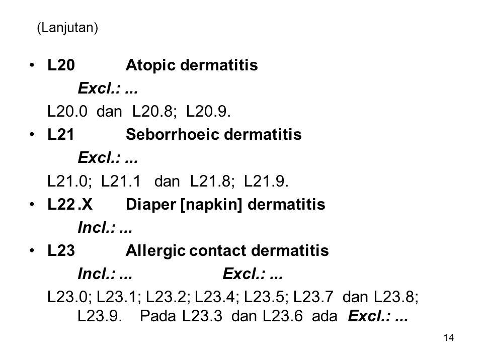 L21 Seborrhoeic dermatitis L21.0; L21.1 dan L21.8; L21.9.