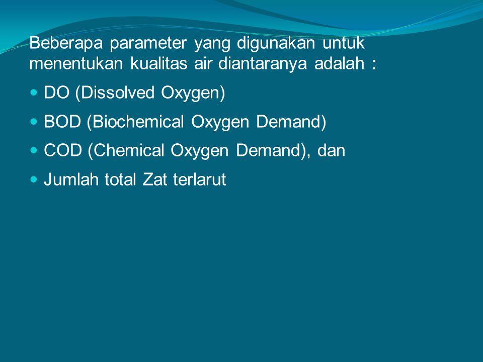 Beberapa parameter yang digunakan untuk menentukan kualitas air diantaranya adalah :