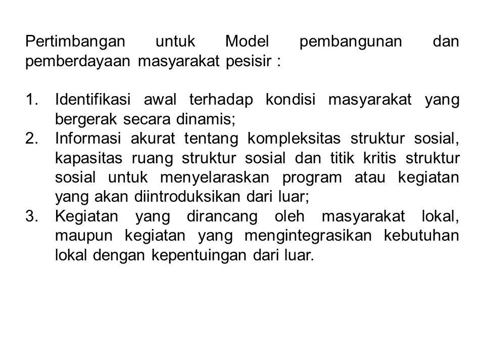 Pertimbangan untuk Model pembangunan dan pemberdayaan masyarakat pesisir :