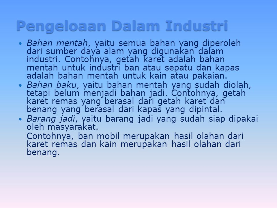Pengeloaan Dalam Industri
