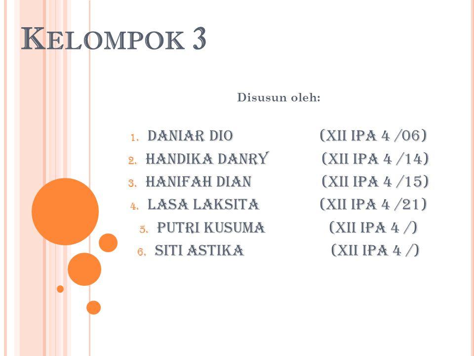 Kelompok 3 Daniar Dio (XII IPA 4 /06) Handika Danry (XII IPA 4 /14)