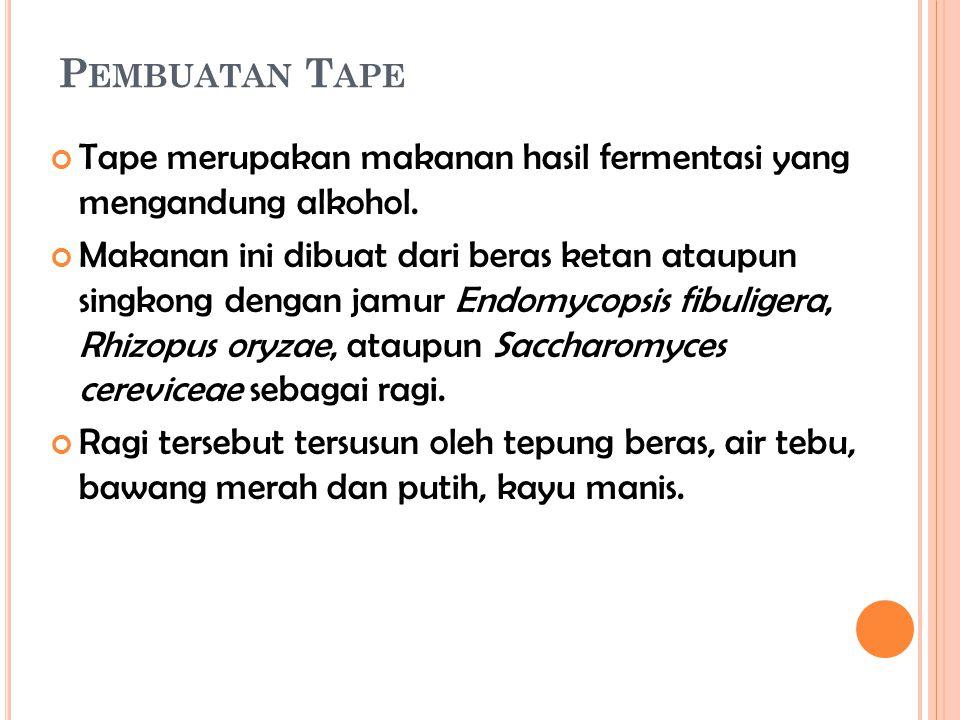 Pembuatan Tape Tape merupakan makanan hasil fermentasi yang mengandung alkohol.