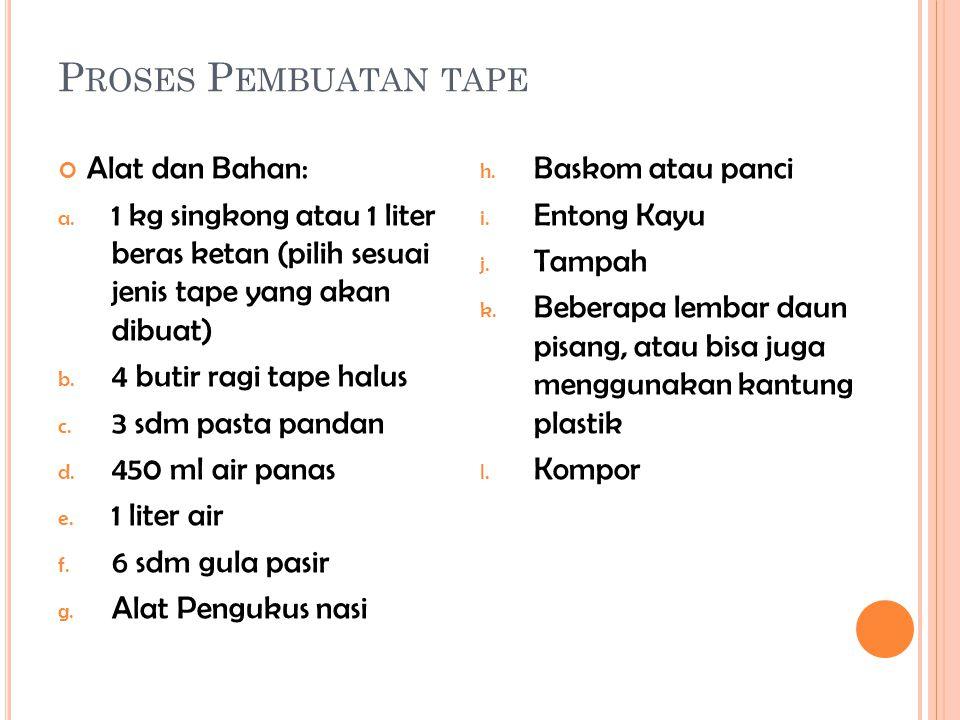 Proses Pembuatan tape Alat dan Bahan: Baskom atau panci