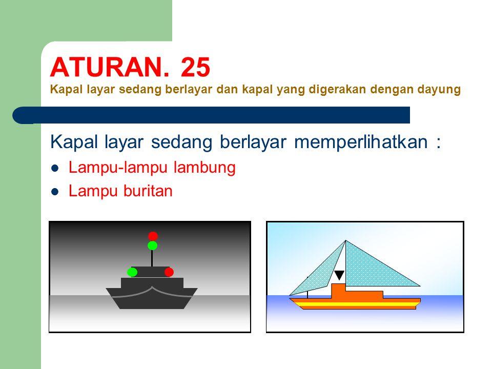 ATURAN. 25 Kapal layar sedang berlayar dan kapal yang digerakan dengan dayung