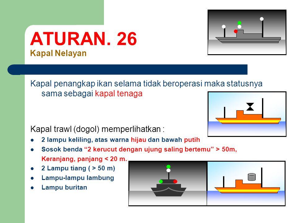 ATURAN. 26 Kapal Nelayan Kapal penangkap ikan selama tidak beroperasi maka statusnya sama sebagai kapal tenaga.