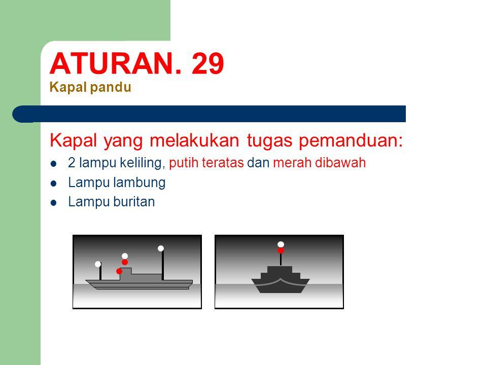 ATURAN. 29 Kapal pandu Kapal yang melakukan tugas pemanduan: