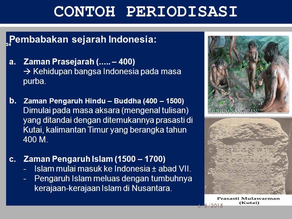 CONTOH PERIODISASI Pembabakan sejarah Indonesia: