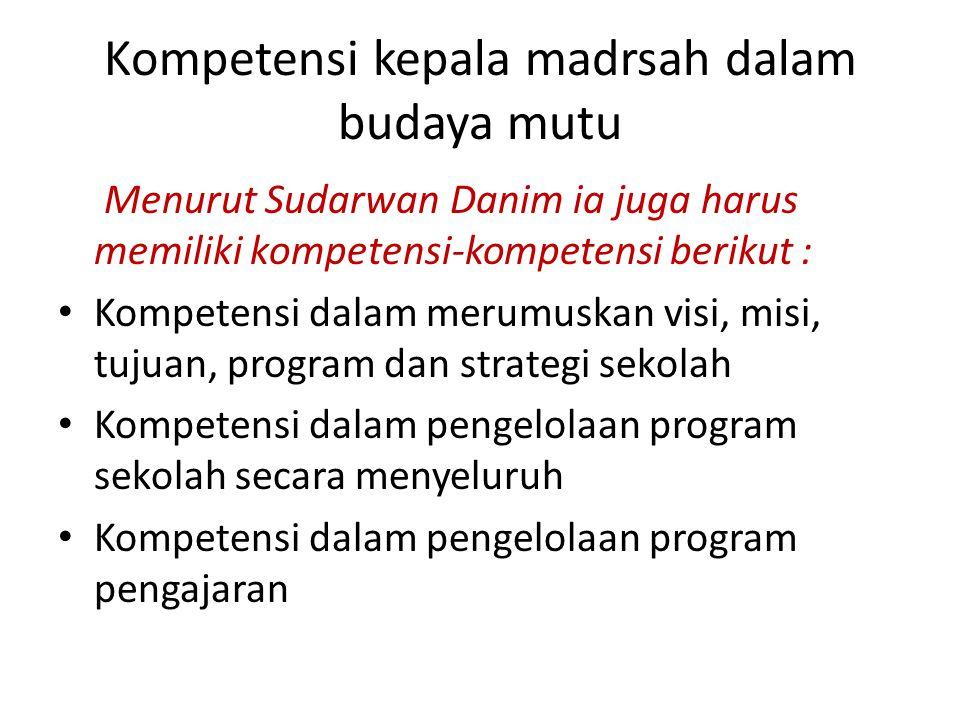 Kompetensi kepala madrsah dalam budaya mutu