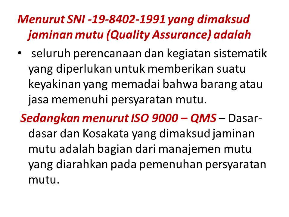Menurut SNI -19-8402-1991 yang dimaksud jaminan mutu (Quality Assurance) adalah