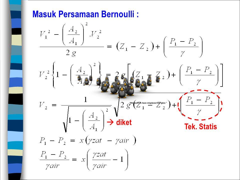 Masuk Persamaan Bernoulli :
