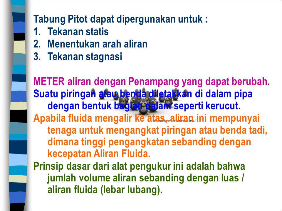 Tabung Pitot dapat dipergunakan untuk :