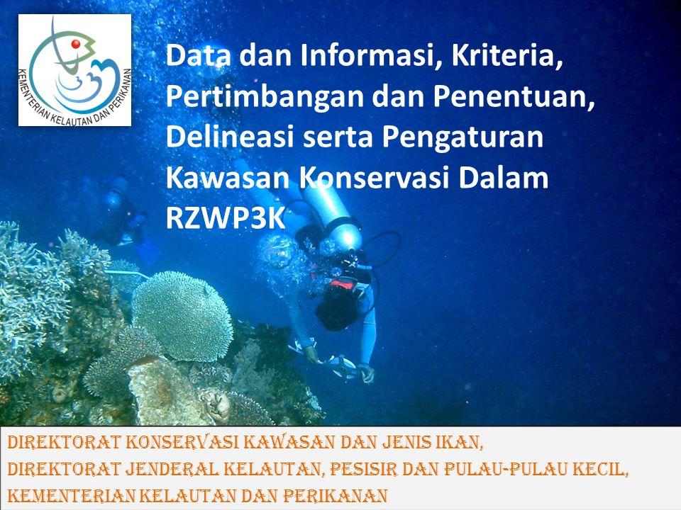 Data dan Informasi, Kriteria, Pertimbangan dan Penentuan, Delineasi serta Pengaturan Kawasan Konservasi Dalam RZWP3K