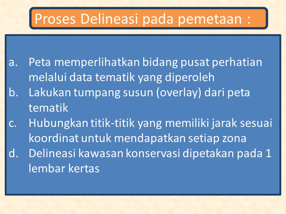 Proses Delineasi pada pemetaan :