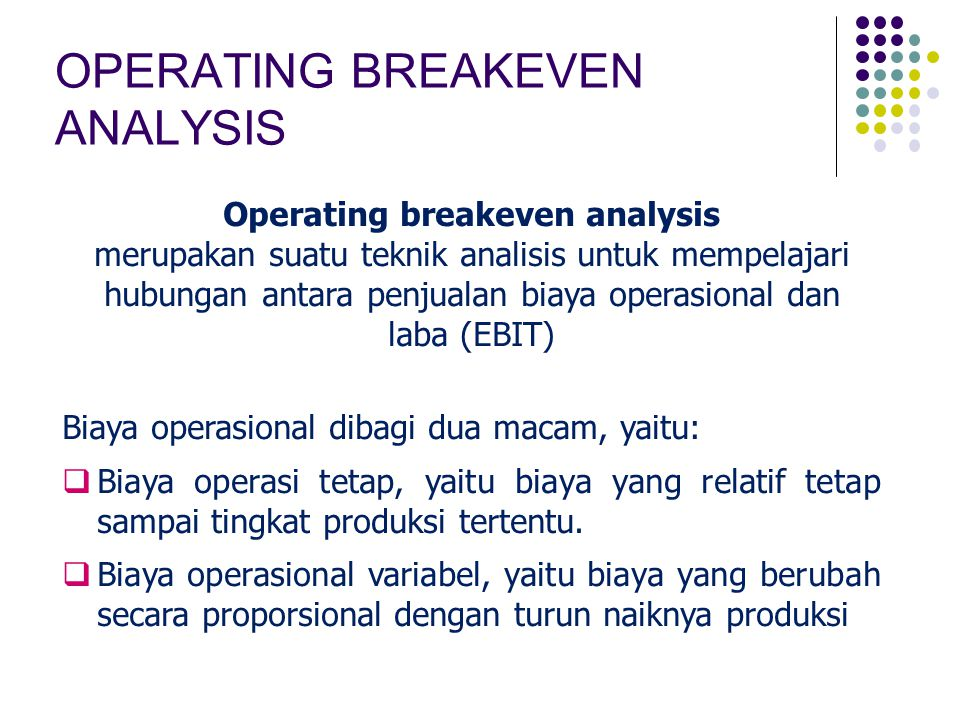 Operating breakeven analysis