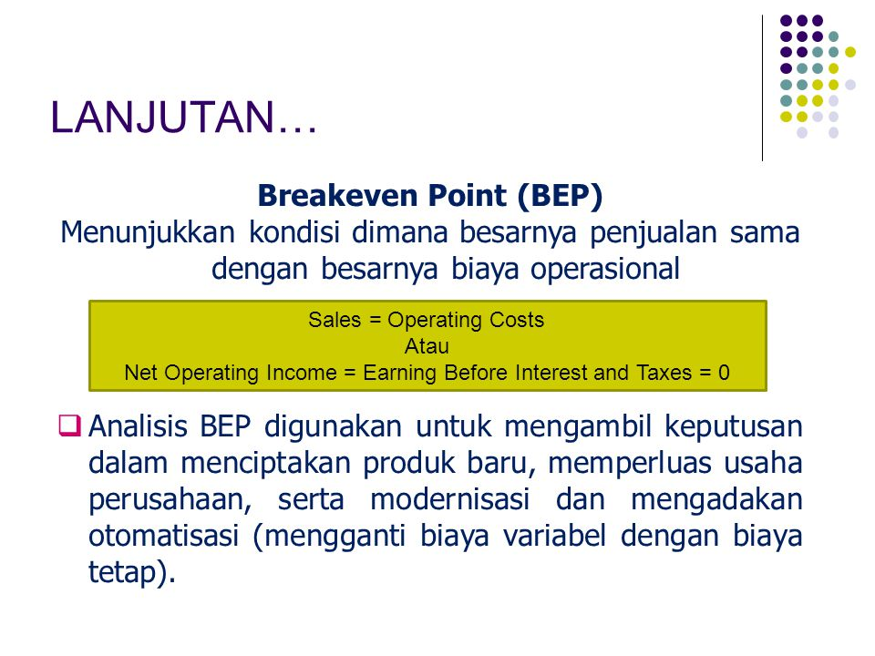 LANJUTAN… Breakeven Point (BEP)