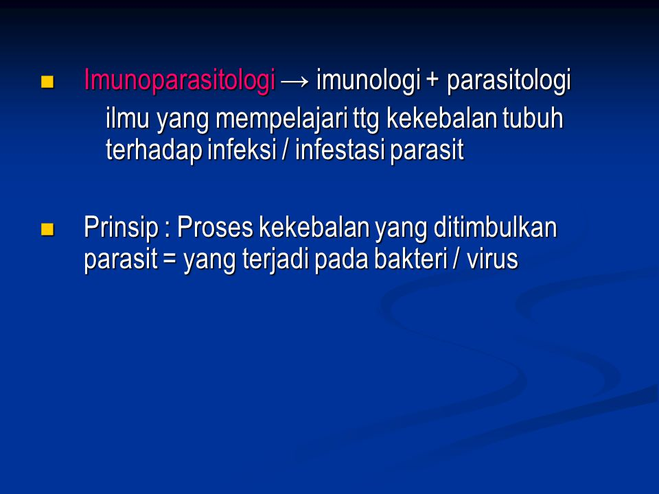 Imunoparasitologi → imunologi + parasitologi