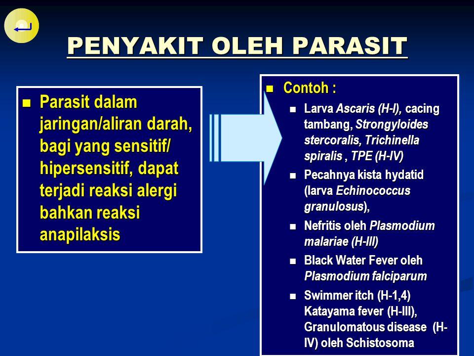 PENYAKIT OLEH PARASIT Contoh : Larva Ascaris (H-I), cacing tambang, Strongyloides stercoralis, Trichinella spiralis , TPE (H-IV)