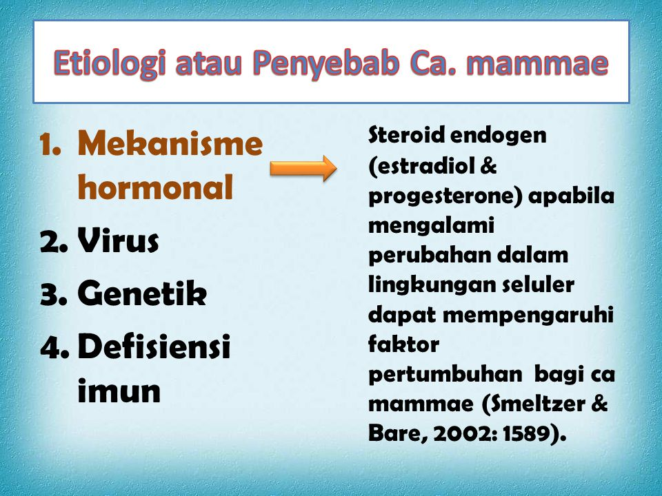 Etiologi atau Penyebab Ca. mammae