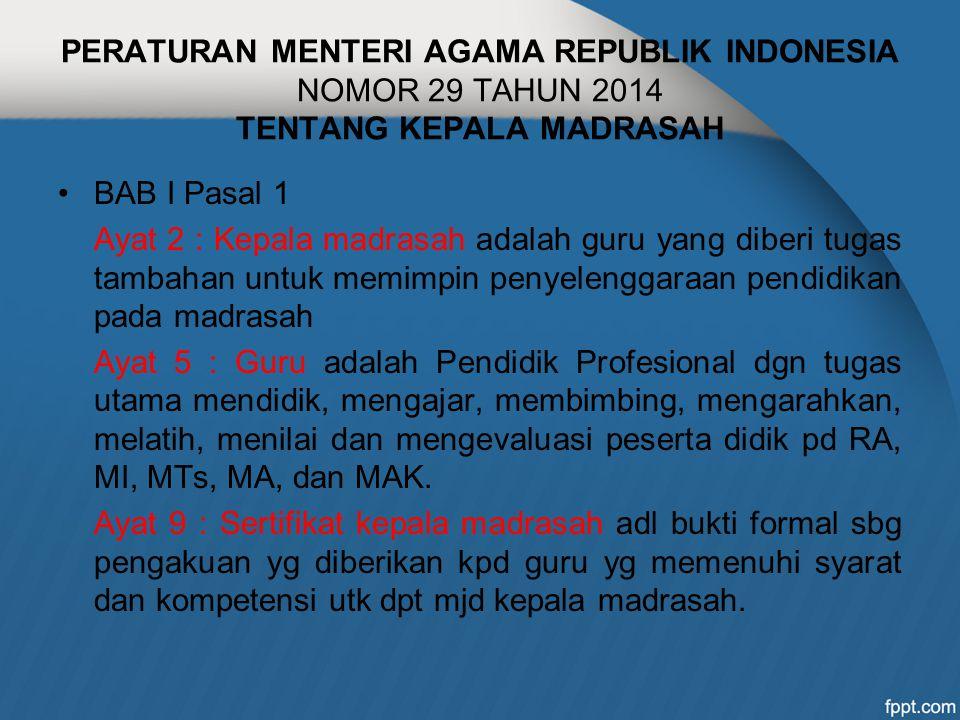 PERATURAN MENTERI AGAMA REPUBLIK INDONESIA NOMOR 29 TAHUN 2014 TENTANG KEPALA MADRASAH