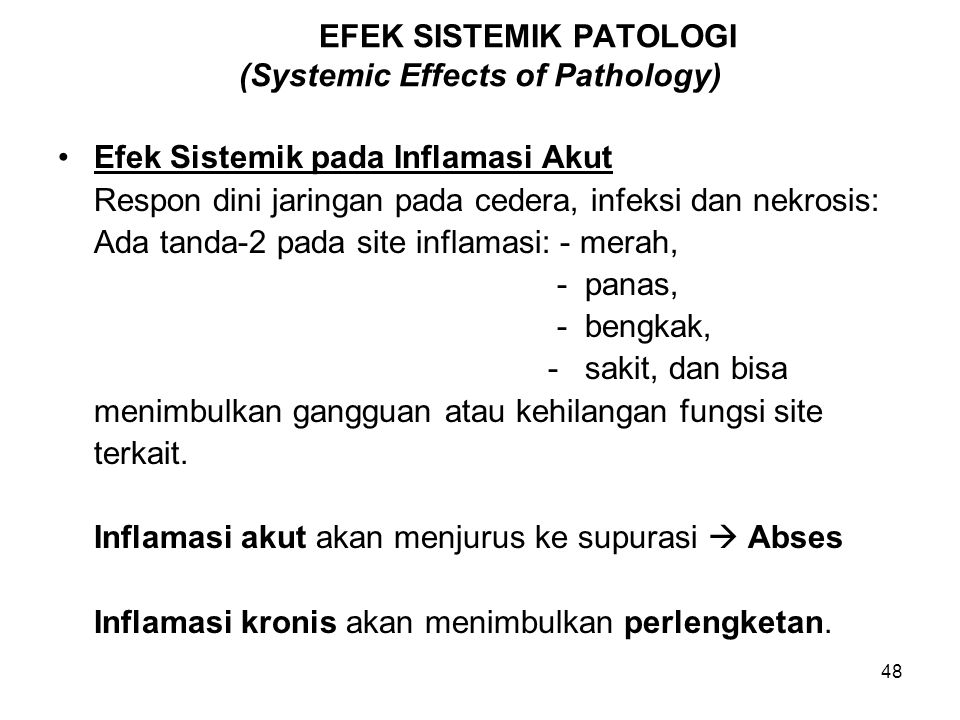 EFEK SISTEMIK PATOLOGI (Systemic Effects of Pathology)