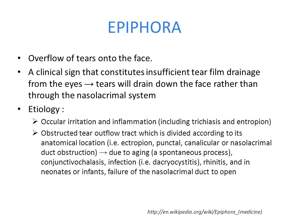 EPIPHORA Overflow of tears onto the face.