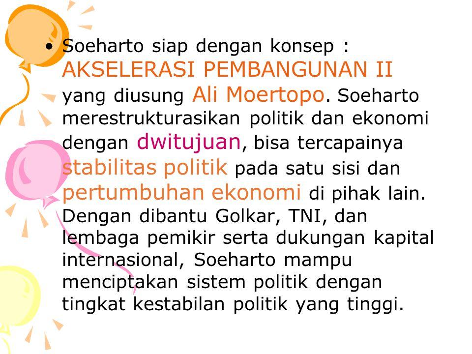 Soeharto siap dengan konsep : AKSELERASI PEMBANGUNAN II yang diusung Ali Moertopo.