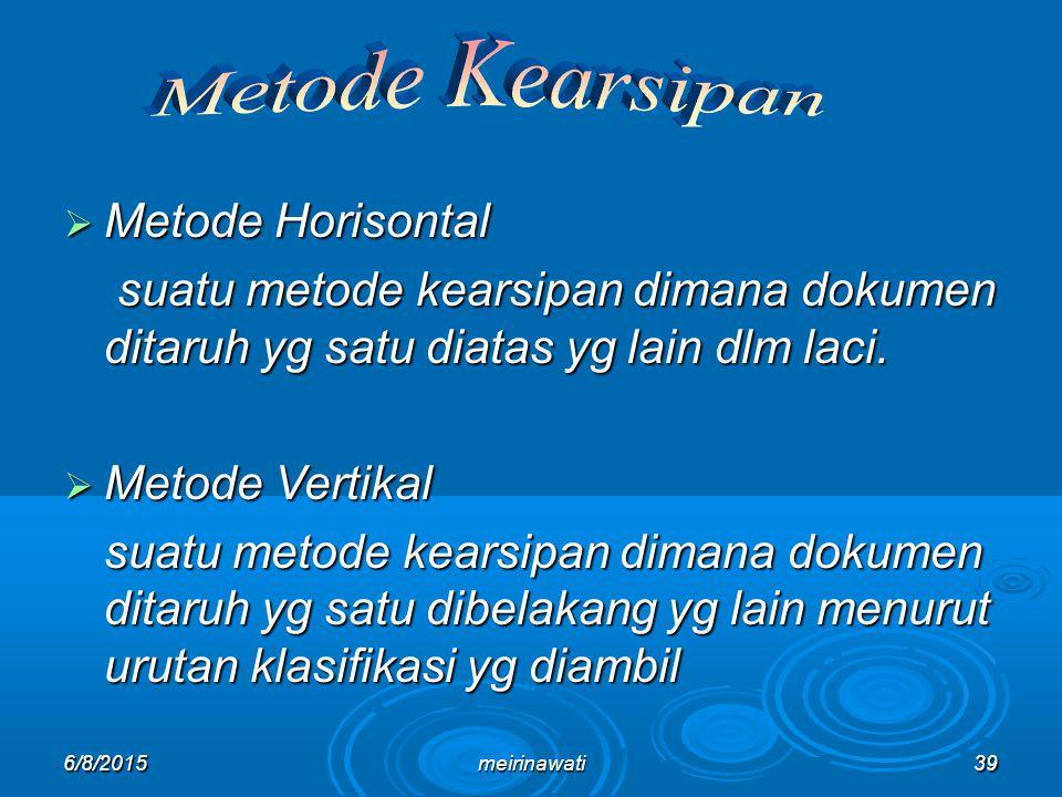 Metode Kearsipan Metode Horisontal