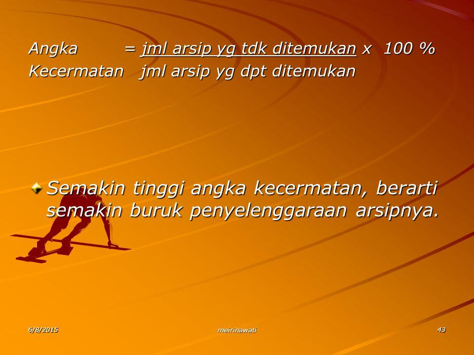 Angka = jml arsip yg tdk ditemukan x 100 %