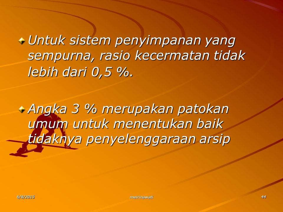 Untuk sistem penyimpanan yang sempurna, rasio kecermatan tidak lebih dari 0,5 %.