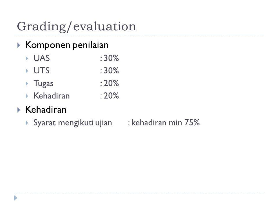 Grading/evaluation Komponen penilaian Kehadiran UAS : 30% UTS : 30%