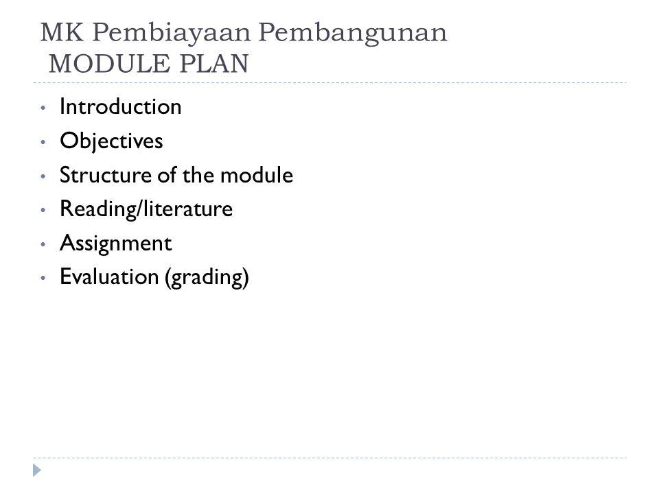 MK Pembiayaan Pembangunan MODULE PLAN