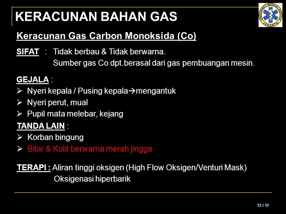 KERACUNAN BAHAN GAS Keracunan Gas Carbon Monoksida (Co)