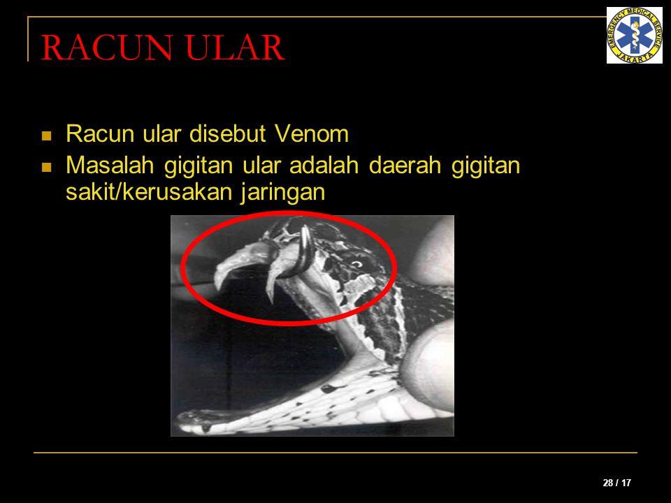 RACUN ULAR Racun ular disebut Venom