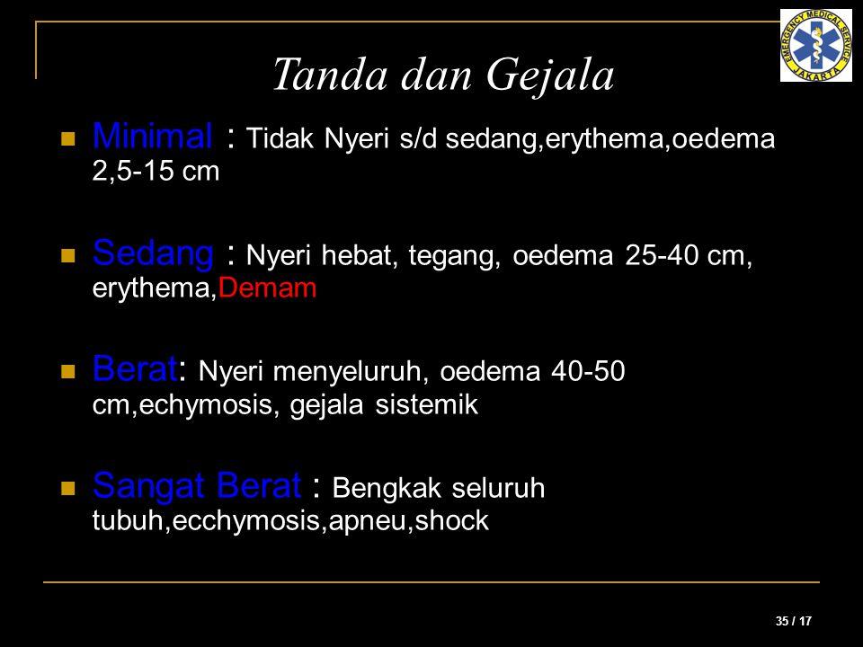 Tanda dan Gejala Minimal : Tidak Nyeri s/d sedang,erythema,oedema 2,5-15 cm. Sedang : Nyeri hebat, tegang, oedema 25-40 cm, erythema,Demam.