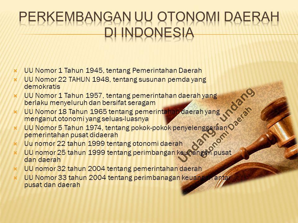 Perkembangan UU otonomi daerah di Indonesia