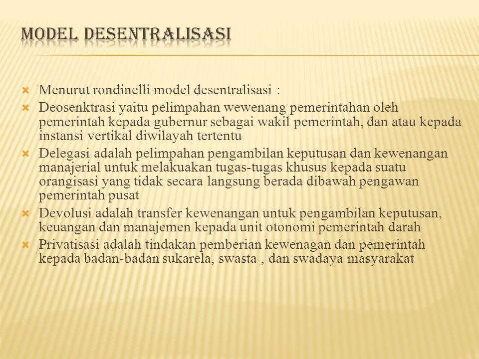 Model Desentralisasi Menurut rondinelli model desentralisasi :
