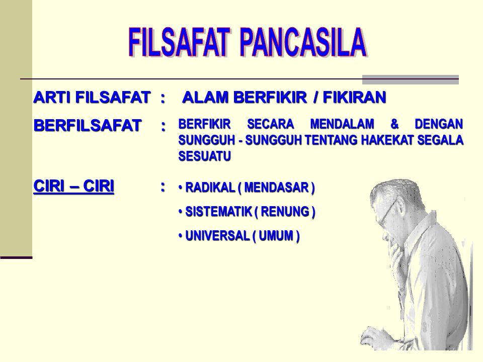 FILSAFAT PANCASILA ARTI FILSAFAT : ALAM BERFIKIR / FIKIRAN