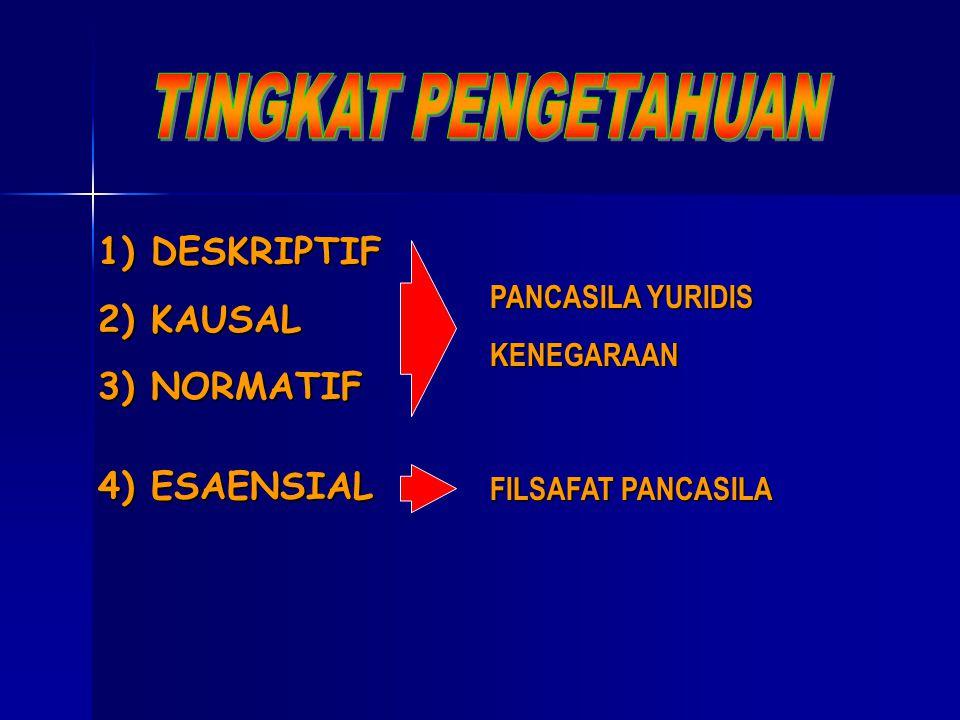 TINGKAT PENGETAHUAN DESKRIPTIF KAUSAL NORMATIF 4) ESAENSIAL