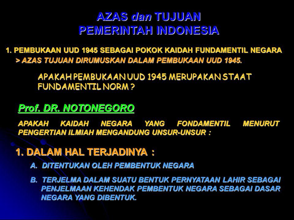 AZAS dan TUJUAN PEMERINTAH INDONESIA