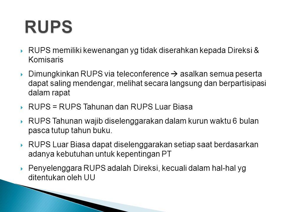 RUPS RUPS memiliki kewenangan yg tidak diserahkan kepada Direksi & Komisaris.