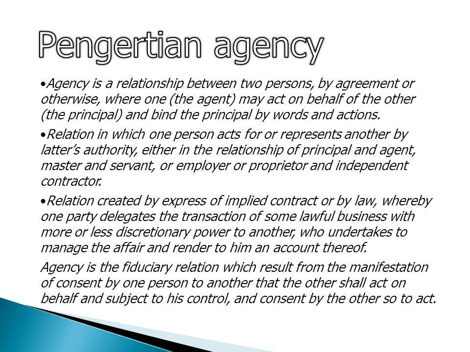 Pengertian agency