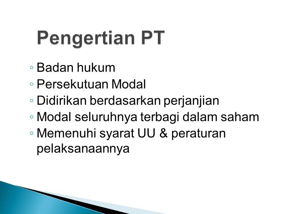Pengertian PT Badan hukum Persekutuan Modal