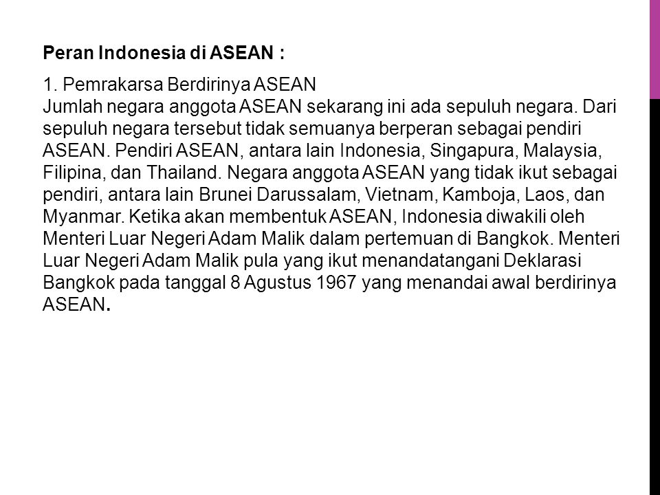Peran Indonesia di ASEAN : 1